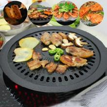 Round Iron Korean BBQ Grill Plate Barbecue Non-stick Pan Set with Holder Set Healthy Smokeless Roasting Outdoor Cooking Tool