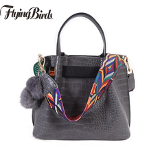 new arrivel women handbags colorful strap lady shoulder bags crocodile pattern leather tote bag crossbody bag dl0589/f