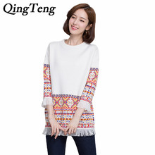 QingTeng Women Long Sweaters And Pullovers Ethnic Pattern With Tassel 100 Pure Cashmere Knitted Fringe Embroidery Pullover 2017