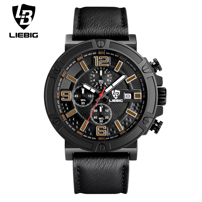LIEBIG Men Military Quartz Wristwatches Stopwatch Hardlex Clocks PU Strap Waterproof Sports Watches Relogio Masculino ZHG161013<br><br>Aliexpress