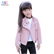 Kindstraum 2017 New Children Leather Jackets Spring & Autumn Kids Solid Turn-down Collar Coats PU Clothes for Girls,RC1081(China)