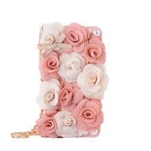 for Coque Samsung Galaxy S6 Flower Case Samsung Galaxy S6 Edge 3D Case Cover Wallet Flip 3D Rose Pink Peony Cloth Flower Rosette(China)