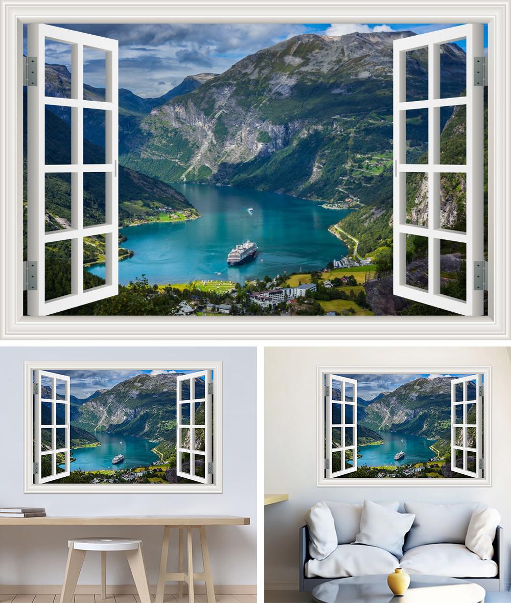 HTB1mu7pb6gy uJjSZTEq6AYkFXak - Modern 3D Large Decal Landscape Wall Sticker Snow Mountain Lake Nature Window Frame View For Living Room