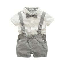 summer baby boy clothing newborn infant 2pcs short sleeve t-shirt + Overalls gentleman suit(China)