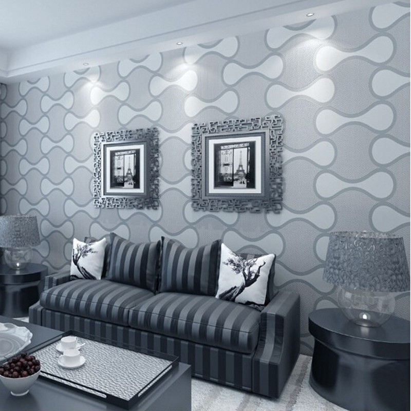 beibehang High Quality Non-woven Wallpaper 3d Geometry Striped Wall paper Embossed Flocking Glitter Background Wallcovering R520<br>