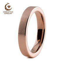 4mm Womens Tungsten Wedding Band Rose Gold Color Brushed Finish Engagement Ring For Lady