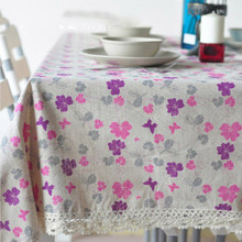 1Pcs Pink Purple Flower Cotton linen tablecloth Lace Edged Party Table cloth Cover Home decor decoration Tablecloths 44119(China)