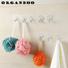 ORGANBOO Kitchen Bathroom Seamless Hook Stickers Wall Hooks For Hanging Bag Holder Coat Cloth Bath Flowers Hold