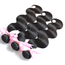 "Top 100% Indian virgin hair extensions, Unprocessed human Body wave  3pcs/lot Free shipping8""-26"" natural color"