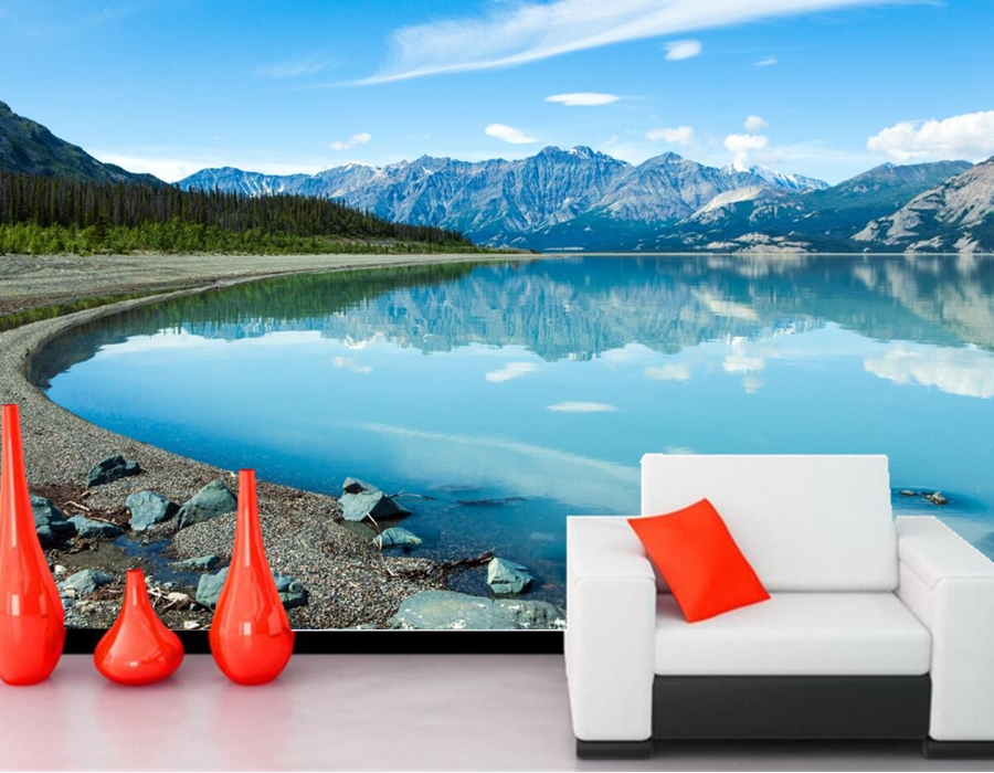 Canada Lake Mountains Stones Scenery Lake Nature wallpaper,papel de parede,living room tv sofa wall bedroom 3d wallpaper murals<br><br>Aliexpress