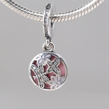 Springtime Pendant Charm 925 Sterling Silver Dragonfly Butterfly  Dangle European Beads Fit Pandora Bracelets &Necklace SP00113