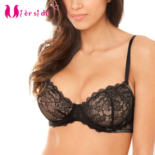 Mierside 7607 Big Bra Single Breathable Hot Summer Sexy Floral Lace Transparent Cup Push up Bralette Black 30-38C/D/DD/DDD/F(China)