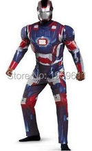 1 X The avengers Iron man costume with stretchy party clothes Cosplay Muscle Custome With Mask For Adult