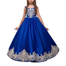 Abaowedding customised royal blue party dresses for girls 10 12 kids prom dresses evening gowns blue graduation gowns children