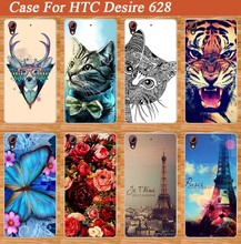 Lovely 14 Cartoons Design Case For HTC Desire 628 DIY 3d Painting Cover COOL Giraffe Tiger Animals Type Case Cover FOR HTC 628