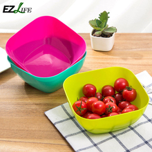 1pc 3 color Food-grade plastic square salad plate of fruit, bowls of dried fruit candy dish fruit plate seeds small snack KT0704