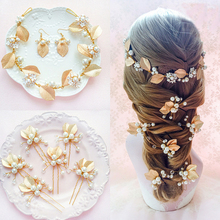 Golden leaf bridal jewelry hair stick Earrings Hairbands sets wedding accessories bride hair pins Hair Sticks