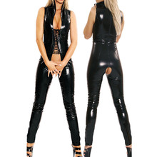 Buy New Sexy Women Faux Leather Bodysuit Open Crotch Erotic Latex Catsuit Bodycon Fetish Jumpsuit PVC Bodysuit Night Culb Dance Wear