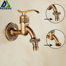 Brass Antique Artistic Cold Wall Garden Washing Machine Water Tap Balcony Basin Faucet Mop Pool Taps(China)