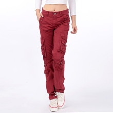 2016 New Women's cotton Cargo Pants Leisure Trousers more Pocket pants free shipping(China)