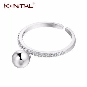 Kinitial 1Pcs New 925 Sterling Silver Small Ball Pendant Rings for Women Fashion Zircon Jewelry Open Adjustable Finger Ring