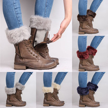 8 Colors Women Winter Leg Warmers Lady Crochet Knit Fur Trim Leg Boot Socks Toppers Cuffs Hot