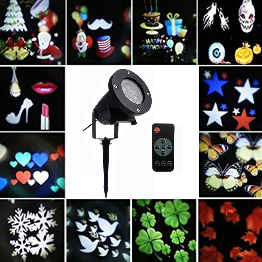 BEIAIDI 12 Pattern Christmas Laser Projector Moving Snowflake Laser Projector SpotLight  Halloween New Year LED Stage DJ Light <br>