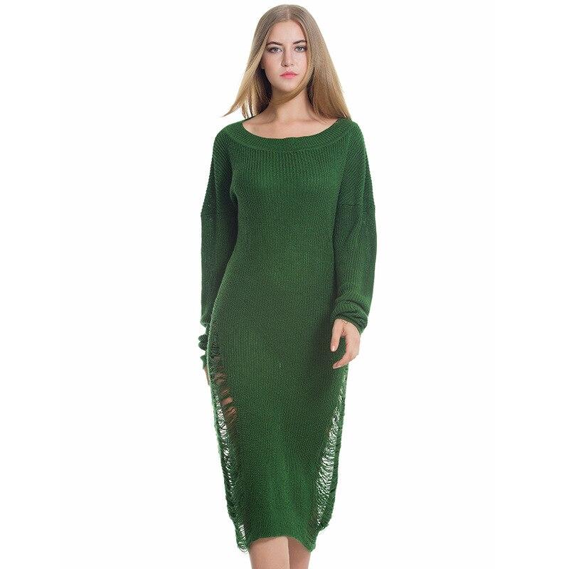 2017 Women Dress Autumn And Winter New Loose Knitted Hollow Maxi Green Dress European And American StyleÎäåæäà è àêñåññóàðû<br><br>