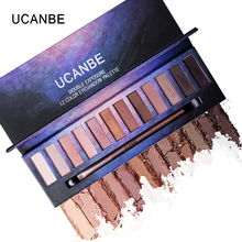 UCNABE 12 Colors Shimmer Matte Eyeshadow Palette High Pigment Naked Sparkle Golden Sleek Smokey Eye Shadow Makeup Set With Brush