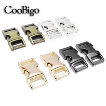 "5pcs Metal 3/8"" Side Release Buckle Hardware Parachute 550 Paracord Bracelet Dog Collar Webbing Strap Outdoor Backpack Bag Parts(China)"