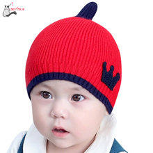 Autumn Winter cute baby hat Baby Boys Girls Kids Crown Pattern Hat Children Knitting Warm Hats Cap touca infantil 1-4T drop shop(China)