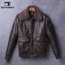 Kenntrice Classic Wool Collar Winter Pilot Leather Jackets Men Leather Coats Thick Bomber Jackets Zippers Veste cuir homme