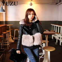 Faux Leather Jacket Women 2018 Faux Luxury Fur Winter Coat Thickened Warm Long Sleeve High Grade Black Leather Jacket Wool Coats(China)