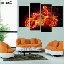 4 Panel HD framed Painting Flame Skeleton Motorcycle Wall Art Picture Home Decoration for Bedroom(Hong Kong)