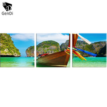 GenDi 3pcs/set Seaview Oil Painting Wall Art Inkjet Wooden Boat Wall Painting Living Room Decoration Canvas Painting Poster(China)