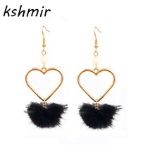 Lovely girl heart lovely hair bulb pearl earring no ear pierced ear  women adorn article Popular fur ball Soft autu FF7889