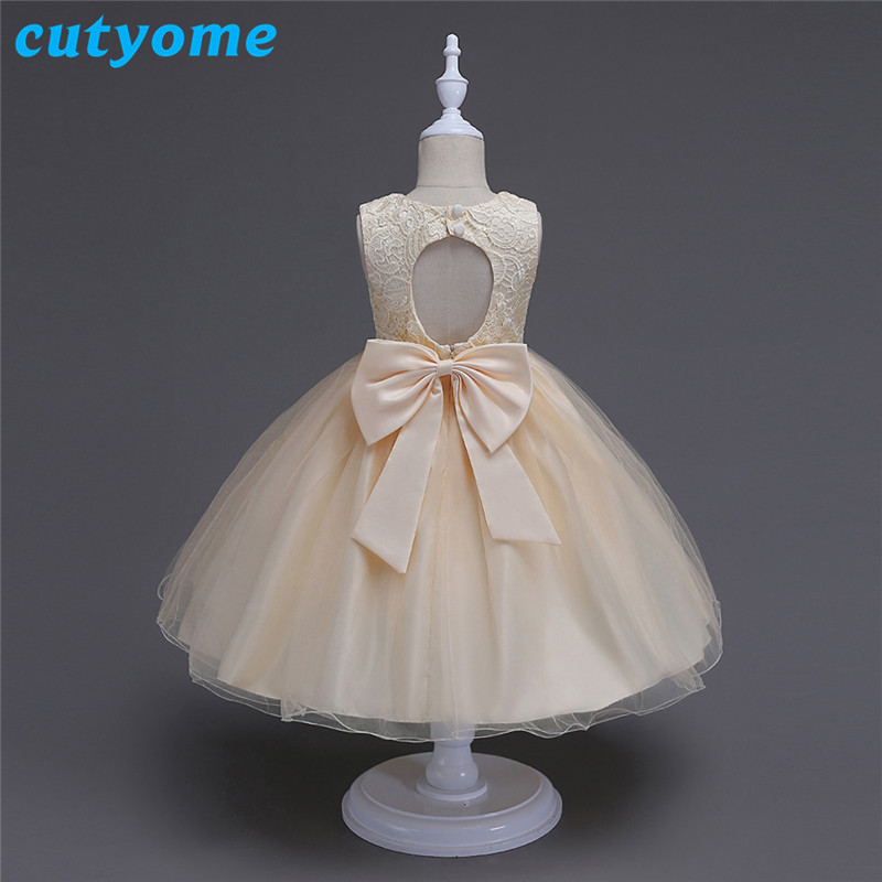 Cutyome Kids Wedding Summer Formal Party Dresses For Girls Lace Birthday Princess Christmas Costume Children Backless Sleeveless<br>