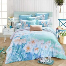 Hot sale 100% natural Tencel silk Spring summer beautiful flowers field 4pcs home princess bedlinen bedclothes bedding set/B3581