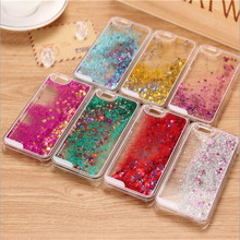 New Fashion Liquid Glitter meteor sand sequins Colorful Dynamic Transparent Hard Mobile Phone Cases For iphone4s/5 SE/6 6s/7Plus(China)