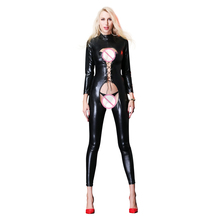 Buy Hot Sexy lingerie Women Catsuit Latex Temptation Tie Bustier Deep V Bodysuit Erotic Sexy Black PU Open Crotch Plus Size G-String