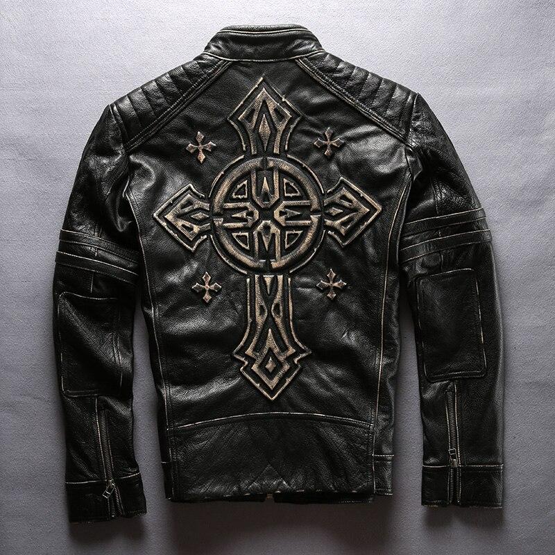Harley style men's slim fit vintage motorcycle jacket with Cross Punk leather biker coat men real leather jacket men black 2017