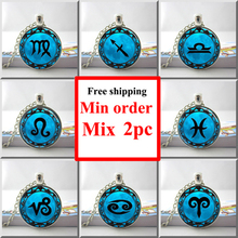 Libra Necklace Cancer Zodiac Sign Jewelry Gemini Blue Moon Scorpio  Scales September October Birthday Astrology Art Pendant