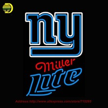 Miller Lite Neon New Yorkk Giants NFL Neon Sign Neon Bulb Glass Tube Handcrafted Lamp Eye Catch Glass Neon Lights Indoor 31x20