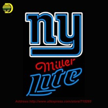Miller Lite Neon New Yorkk Giants NFL Neon Sign Neon Bulb Glass Tube Handcrafted Lamp Eye Catch Glass Neon Lights Indoor 31x20(China)