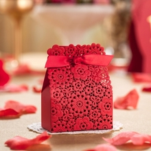 red laser cut wedding GIFT favor box CB5058 chocolate holder ,match invitation card CW5058(China)