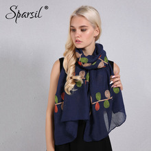 Sparsil Women Cotton Linen Scarf Natural Chic Plant Embroidery Shawls Wrap Thin Soft 180x90 Pashmina Hijab Scarves Travel Beach(China)