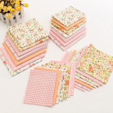 New Arrival 7Pcs Colorful Orange Pink Flower Cotton Fabric for Home Table Cover Patchwork Doll Needlework Crafts DIY Material(China)