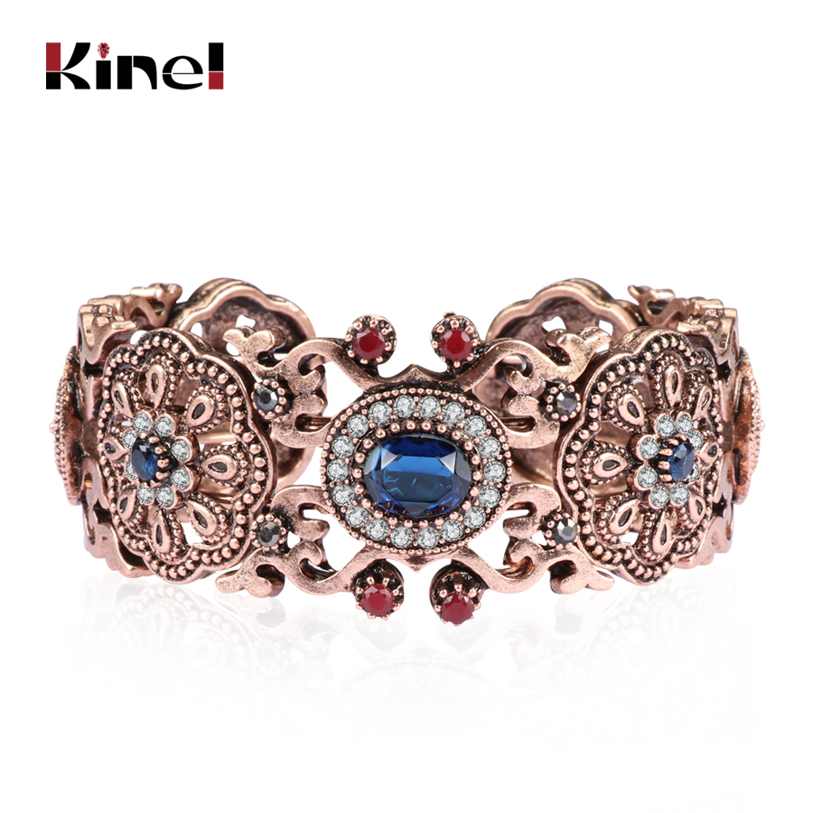 Kinel Vintage Bangles Women Antique Gold Color Hollow Flower Crystal Bracelet Fashion Turkish Jewelry Ladies Festival Gift