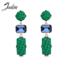 JOOLIM Jewelry Wholesale/Green Red Statement Earring Piercing Engraved Earring Fashion Jewelry Black Friday Deal(China)