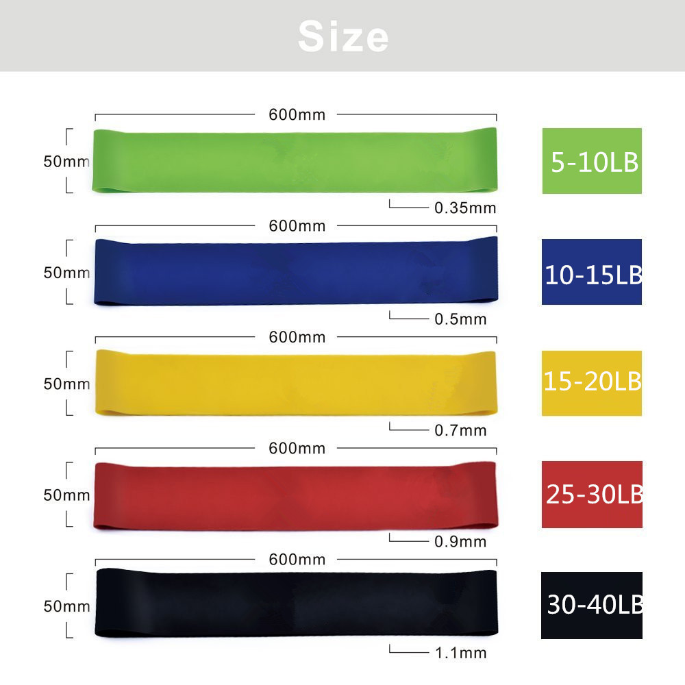 5 Level Yoga Resistance Rubber Bands 0.35mm-1.1mm Strength Pilates Sport Training Workout Elastic Bands 600mm Fitness Equipment (18)
